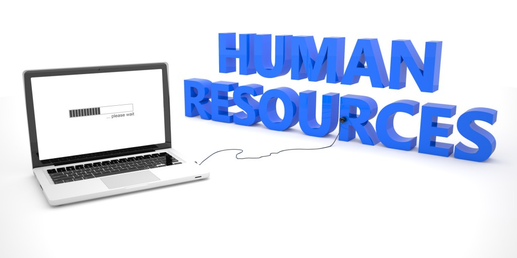 Human Resources - laptop notebook computer connected to a word on white background. 3d render illustration.